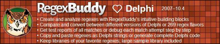 RegexBuddy—The best regex editor and tester for Delphi developers!