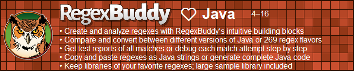 RegexBuddy—The best regex editor and tester for Java developers!