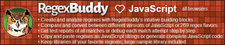 RegexBuddy—The best regex editor and tester for JavaScript developers!