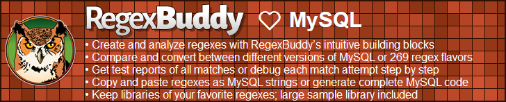 RegexBuddy—The best regex editor and tester for MySQL developers!