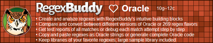 RegexBuddy—The best regex editor and tester for Oracle developers!