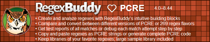 RegexBuddy—The best regex editor and tester for PCRE users!