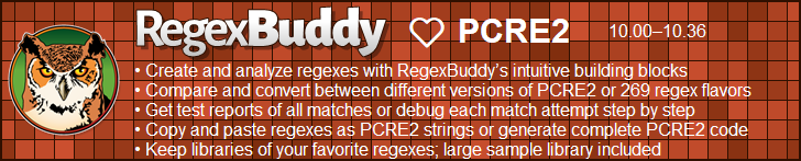 RegexBuddy—The best regex editor and tester for PCRE2 users!