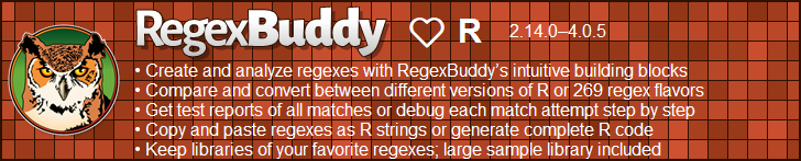 RegexBuddy—The best regex editor and tester for R developers!