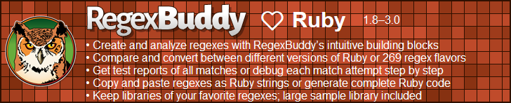 RegexBuddy—The best regex editor and tester for Ruby developers!