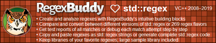 RegexBuddy—The best regex editor and tester for C++ developers!