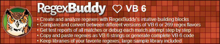 RegexBuddy—The best regex editor and tester for VB 6 developers!