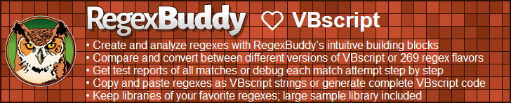 RegexBuddy—The best regex editor and tester for VBscript developers!