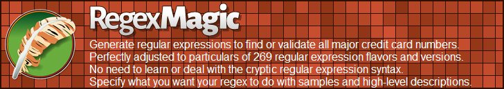 RegexMagic—Generate regular expressions matching credit card numbers