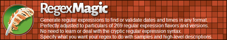 RegexMagic—Generate regular expressions matching dates and times
