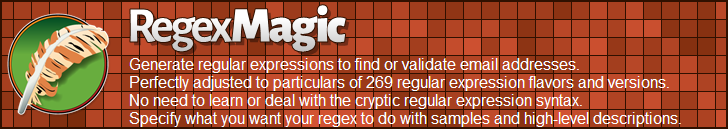 RegexMagic—Generate regular expressions matching email addresses