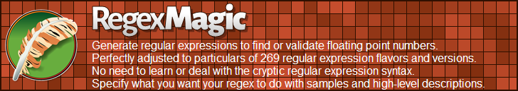 RegexMagic—Generate regular expressions matching floating point numbers