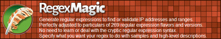 RegexMagic—Generate regular expressions matching ip addresses and ranges
