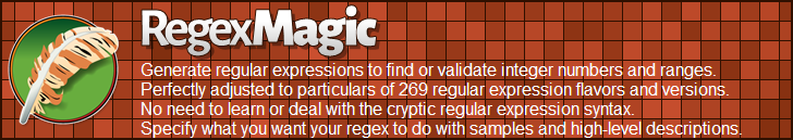 RegexMagic—Generate regular expressions matching integer numbers and ranges