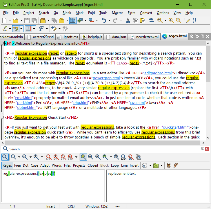 Highlighting regular expression matches in EditPad Pro